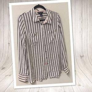 WHBM Striped pink black striped chiffon blouse 12